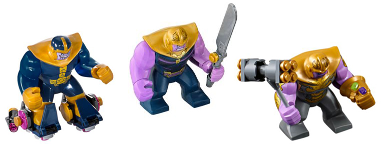 The three LEGO Thanos big figures