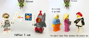 Lego Astronaut and son, and the Space Police acceptance ceremony
