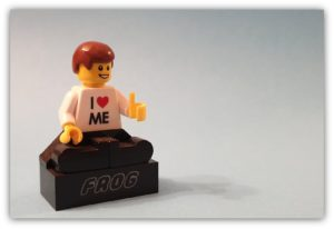 single stand display of a minifigure
