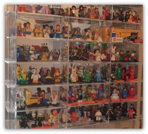 wall display of minifigures