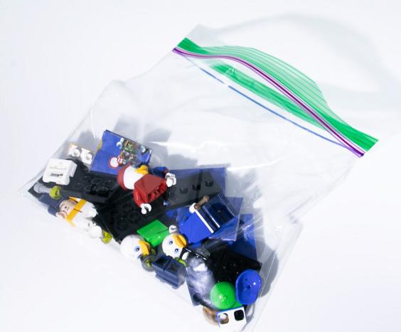 LEGO minifigures in a sandwich baggie by Teddi Deppner