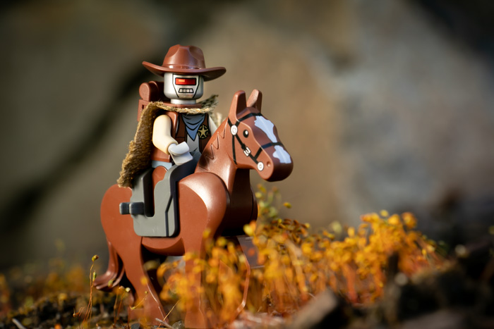 Traveling with LEGO minifigures: Robot cowboy by Teddi Deppner @mightysmallstories