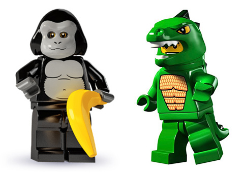 lego minifigures in costume: gorilla and lizard