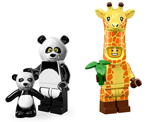 animal costume minifigures: panda and giraffe