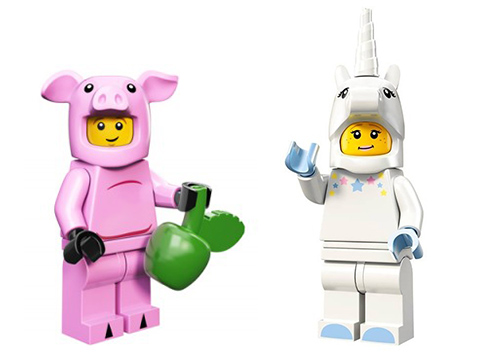 animal costume minifigures: pig and unicorn