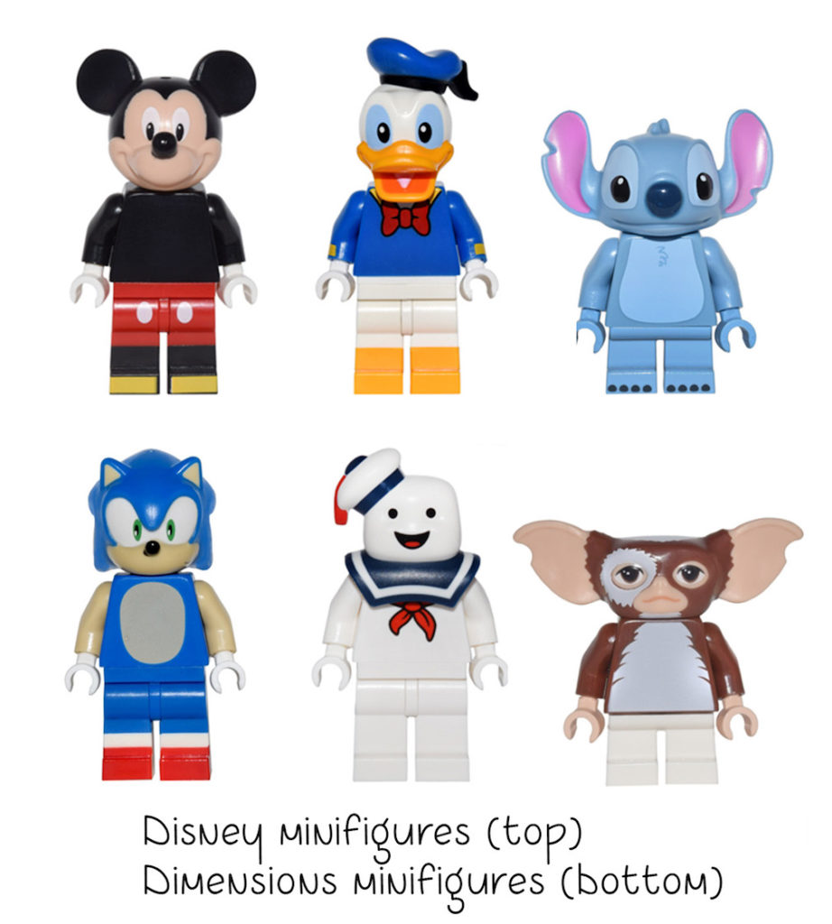 non-standard LEGO heads: disney and dimensions
