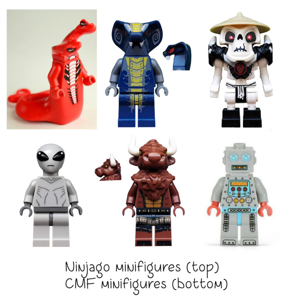 cmf and ninjago non-standard LEGO heads