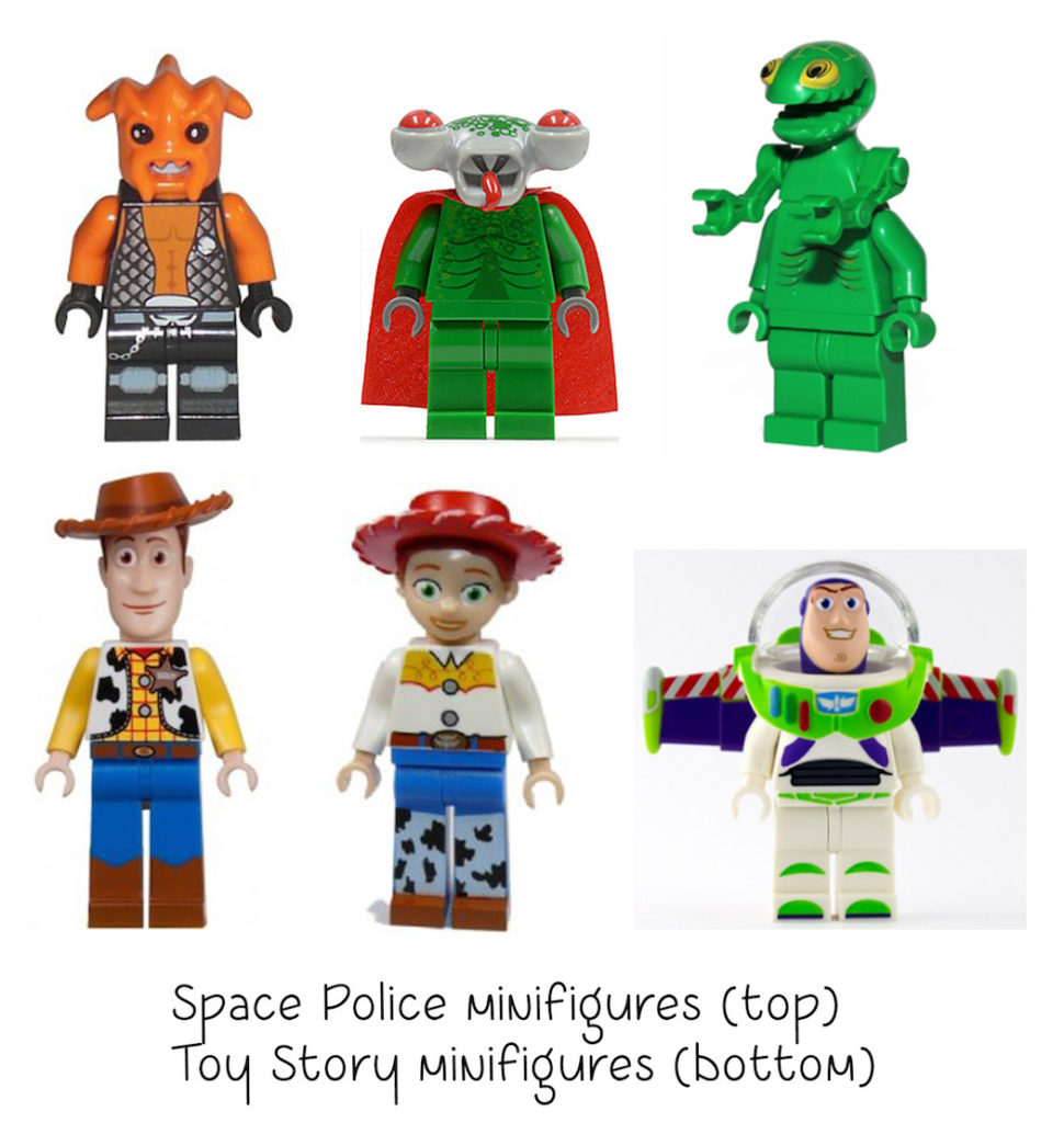 space police and toy story non-standard LEGO heads